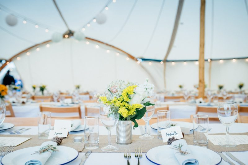 Wedding Tent, Northumberland.Table setting.