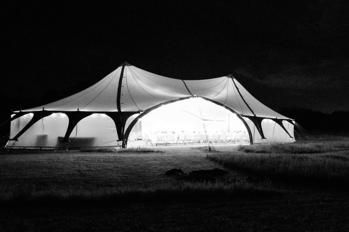 Arched Wedding Tent light up at night