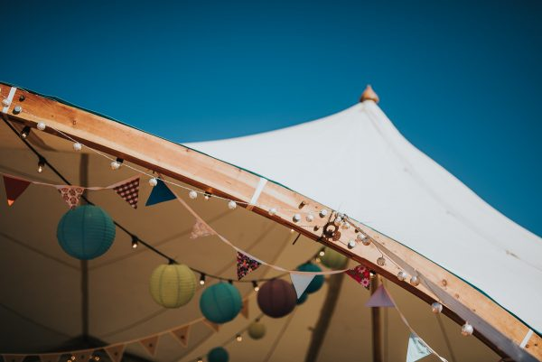 Canvas Wedding Marquee, timber arch detail, Alnwick, North East England