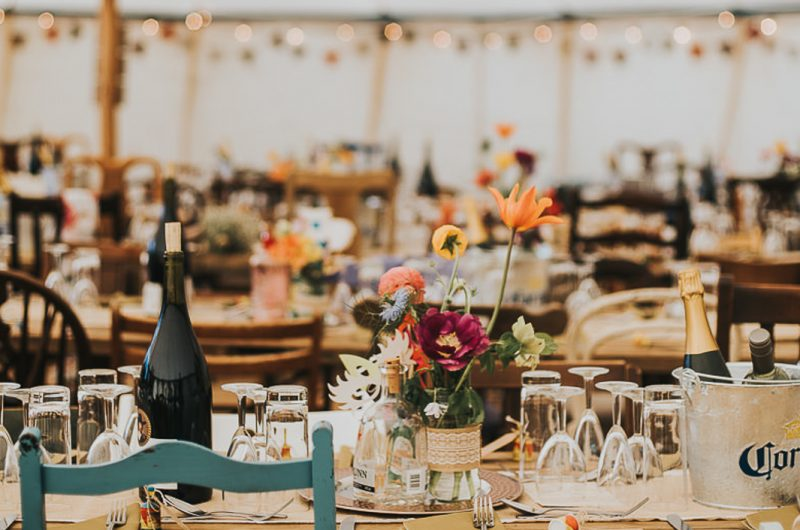 Canvas wedding marquee, North East England