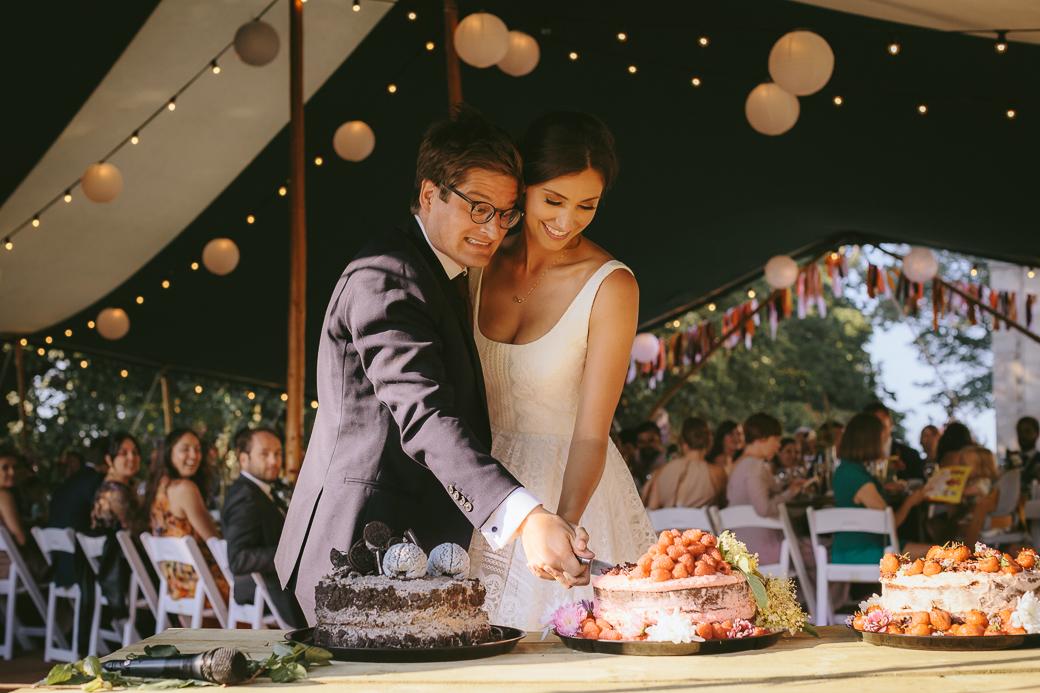 Northumberland wedding party - bride and groom cutting wedding cake