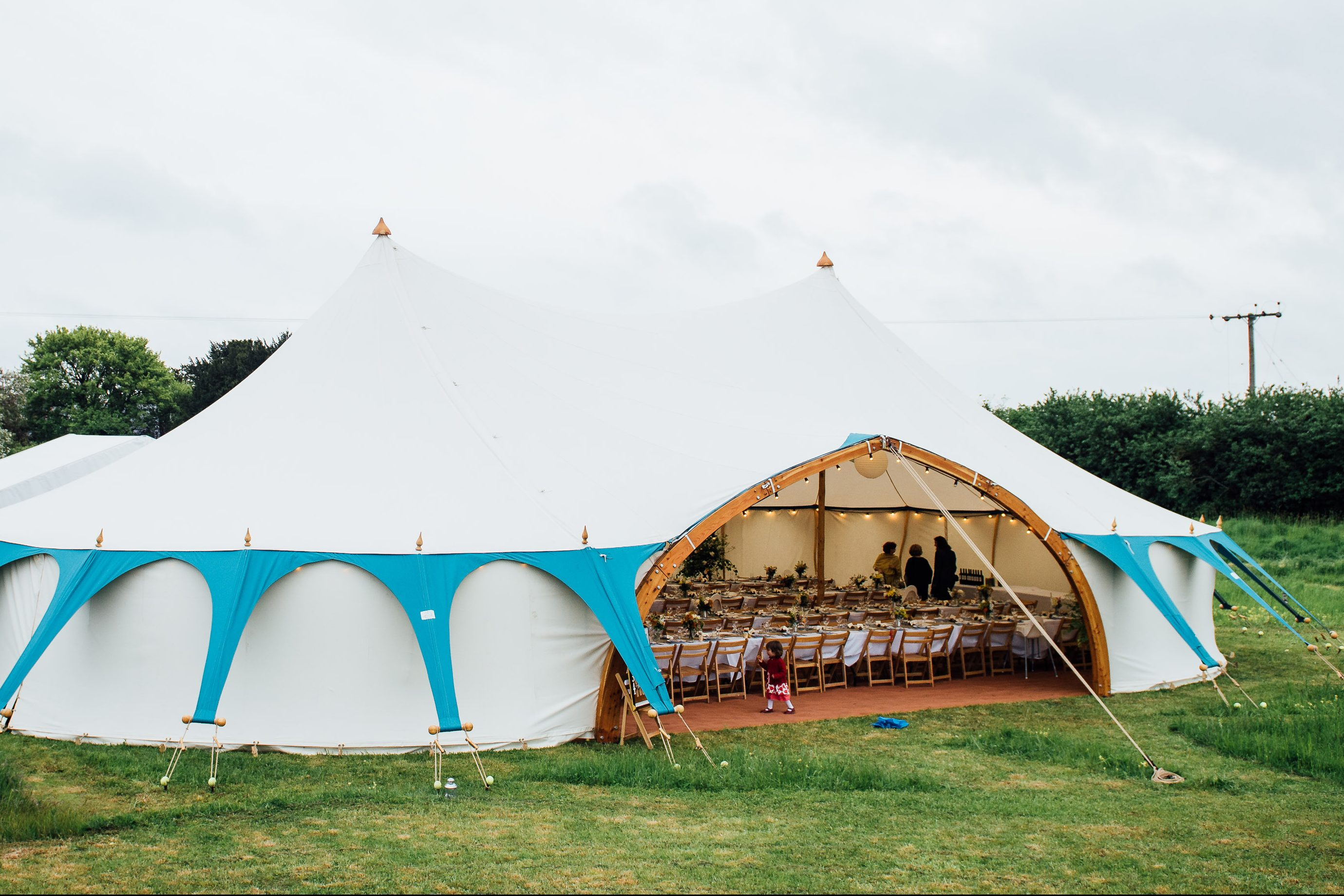white canvas wedding marquee, North East England