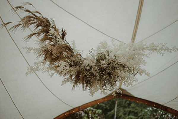 Floral installation in Arched Wedding Tent