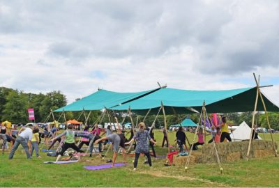 Outdoor yoga under canvas Awning