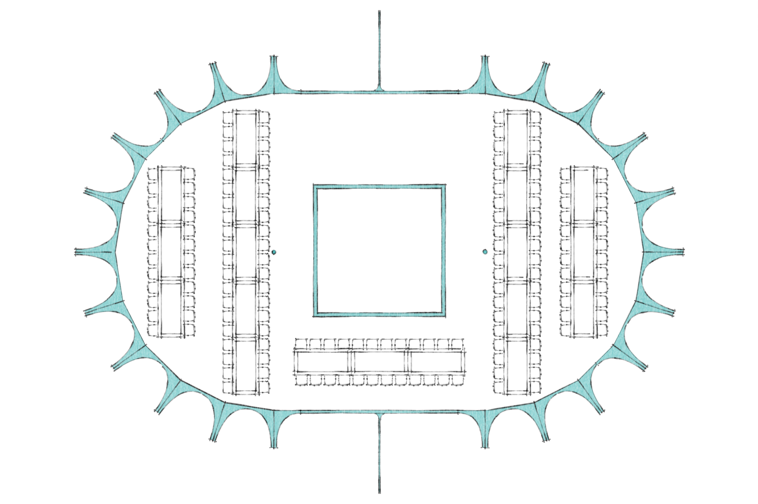 1150 wedding guests layout
