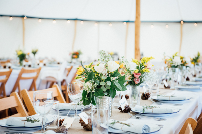Wedding reception in alternative wedding marquee