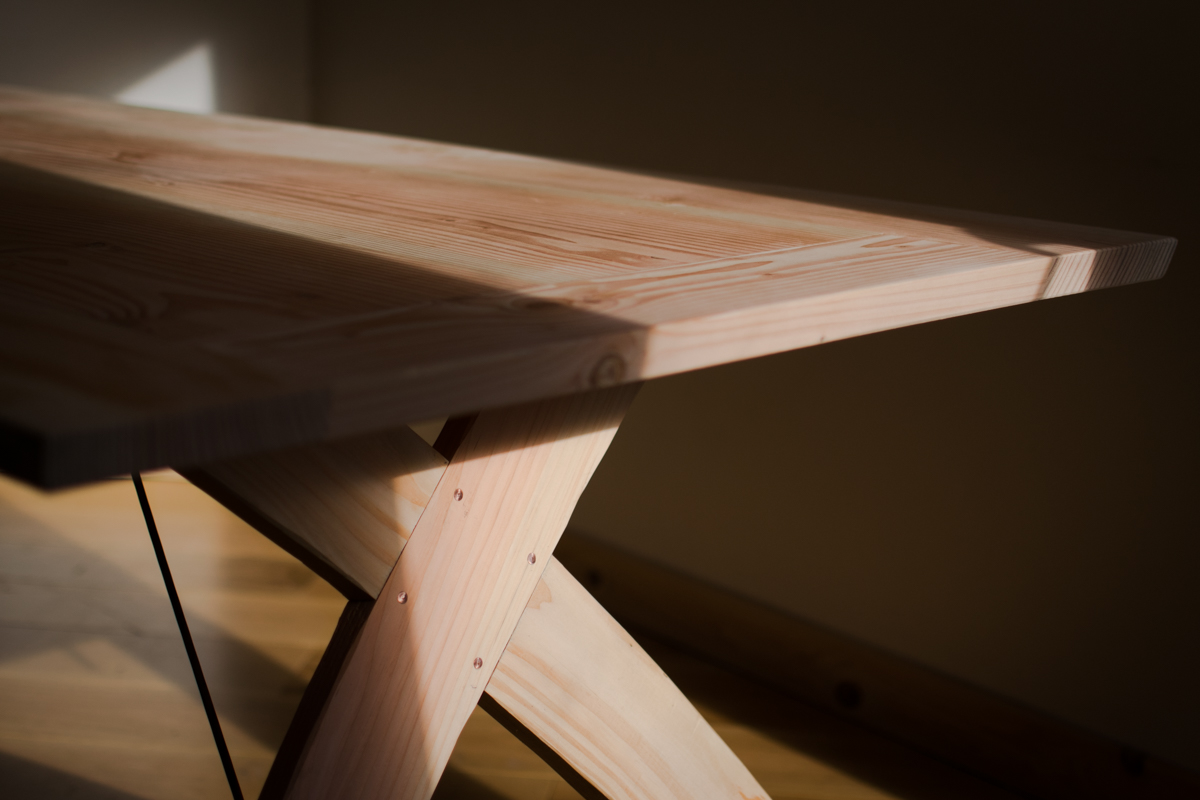 wooden trestle table detail